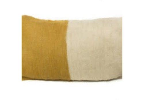 Saraka Wool Cushion   Mustard + Natural w insert  13 x 22
