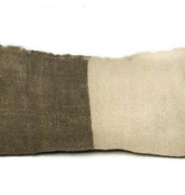 Saraka Wool Cushion | Olive + Natural  w insert| 13 x 22