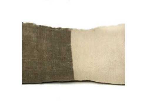 Saraka Wool Cushion   Olive + Natural  w insert  13 x 22