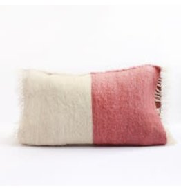 Saraka Wool Cushion | Rose + Natural w insert | 13 x 22