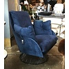 Gamma | Gloss Revolving Leather Armchair | Blue