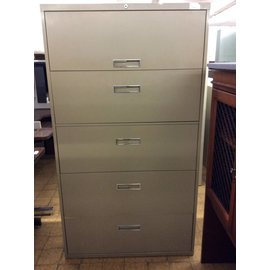 """18x36x65"""" Olive color  5 drawer lateral file cabinet"""