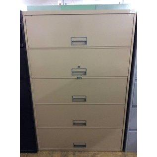 18x42x64 3/4 Tan metal lateral 5 drawer file cabinet