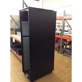 """23 1/2x38 1/4x84 1/4"""" Black server rack w/power strip"""