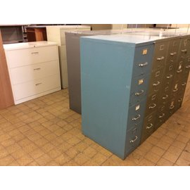 28 1/2 x 15 x 52 1/2 Blue 4 drawer file cabinet