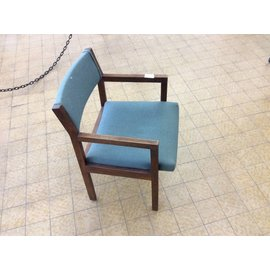 Green padded wood frame side chair