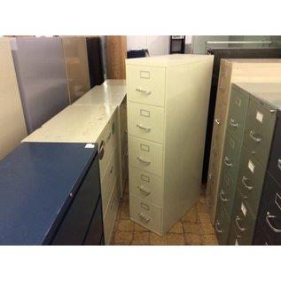 Beige 5 drawer metal file cabinet