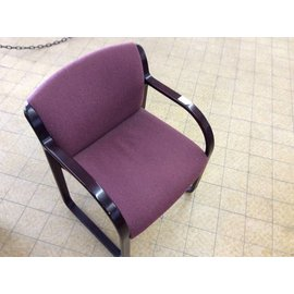 Maroon padded wood frame side chair