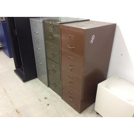 Brown metal 4 drawer vertical legal file cabinet