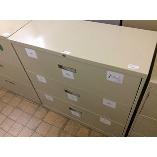 "18x42x41 1/4"" Tan 3 drawer lateral file cabinet"