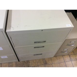 "18x30x40"" Beige metal 3 drawer lateral file cabinet"