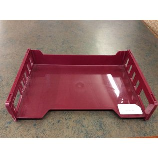 Single maroon plastic paper tray