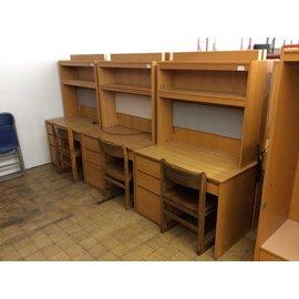 """24x42x68 1/4"""" Wood 4 drawer student desk w/hutch"""