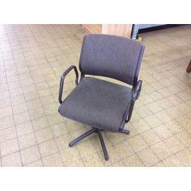 Brown padded metal frame side chair