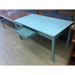 30x60 Green stealcase table with middle drawer
