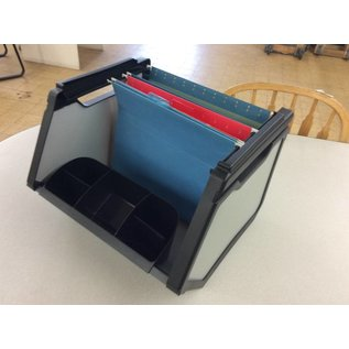 Crate type hanging file carrier with organizer tray