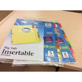 2 pack of insertable Tab Dividers 5 tabs/8 tabs