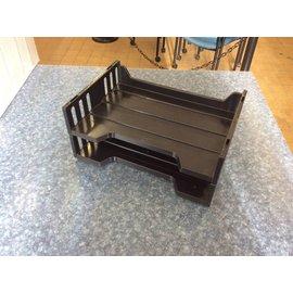 2 tier black plastic paper tray