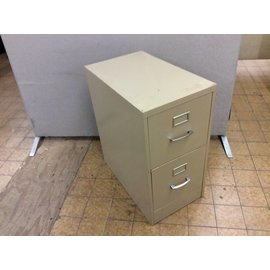 "25x15x29"" Tan 2 drawer metal vertical file cabinet"