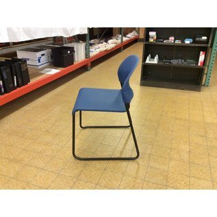 Blue plastic stacking chair w/metal legs