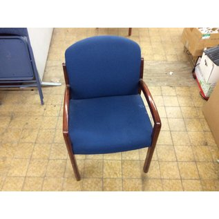 Blue pattern padded side chair