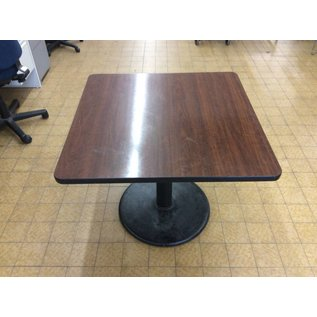 36x36x30 Square wood top metal base dining table
