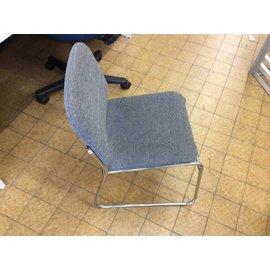 Lt gray metal frame side chair