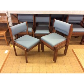 Blue padded wood frame stacking side chair