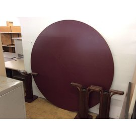 "72"" Burgundy top wood round table"