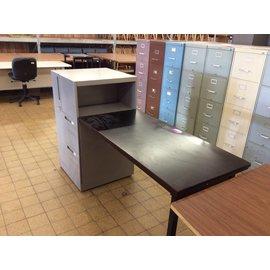 24x24x41 1/2 Metal 2 drawer file cabinet w/23x48 wood table