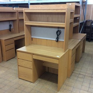 24x42 wood left ped desk with hutch