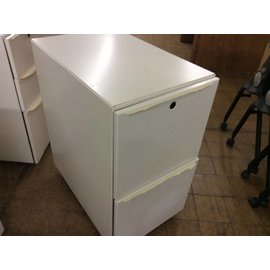 24x15x28 white 2 dr. File Cabinet on castors (w/broken handles)