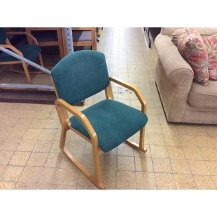 Green padded side chair w/arms