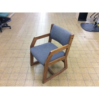 Grey padded side chair w/arms