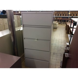 5 drawer beige lateral file cabinet