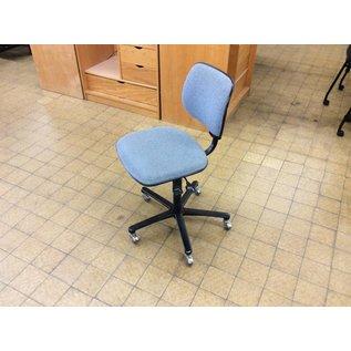 Lt blue desk chair on silver castors