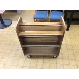 17x32x38 Wood book cart 2 tier on castors (12/10/18)