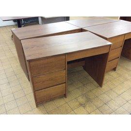 "24x44x30 1/4"" Wood left pedestal student desk w/4 drawers"
