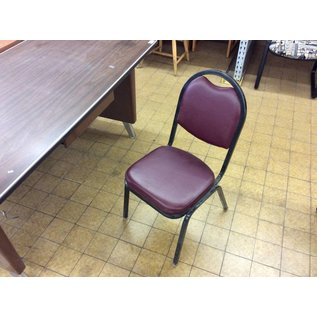 Maroon padded metal frame kitchen chair
