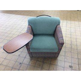 Green multi-pattern lounge chair w/work surface