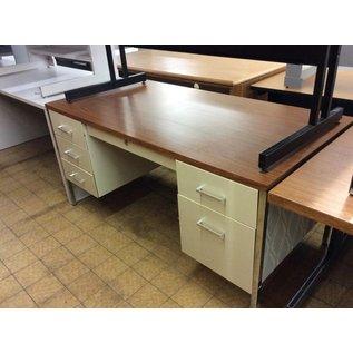 "30x60x29"" Beige metal double pedestal desk(9/10/18)"