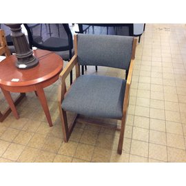 Gray padded tilt back wood frame side chair