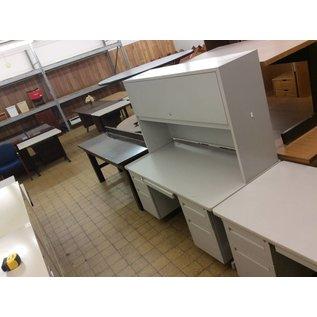 30x59 3/8x26 Gray double pedestal desk W/hutch