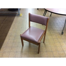 Pink padded wood frame side chair