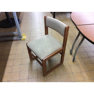 Beige padded wood frame side chair