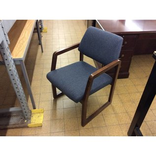 Blue padded wood frame side chair w/arms