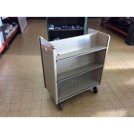 """17x33x38 1/2"""" Tan metal dbl sided bookcart on castors"""