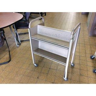 """28x18x39"""" Tan metal dbl sided bookcart on castors"""