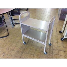 "15x28x36"" Tan metal bookcart on castors"