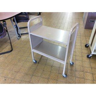 "15x28x36"" Tan metal bookcart on castors"